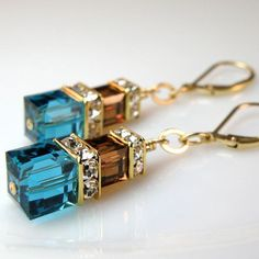 teal and chocolate crystal earrings, custom bridal wedding, swarovski, handmade jewelry, fall fashion