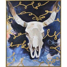 The Renwil Dombey Framed Hand-Painted Canvas Wall Art features a hand-painted skull with horns in shades of white and gray. The background of this wall. Hand Painted Canvas, Canvas Frame, Canvas Wall Art, Skull With Horns, Royal Blue Background, Animal Skulls, Baby Clothes Shops, Blue Backgrounds, Framed Wall Art