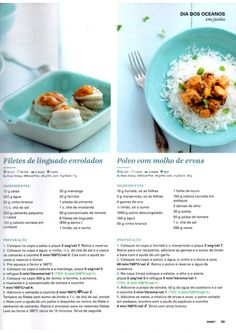 Revista Bimby - Junho 2015 Portuguese Recipes, Portuguese Food, Seafood, Food And Drink, Gluten, Fruit, Healthy, Party, Ancient Recipes