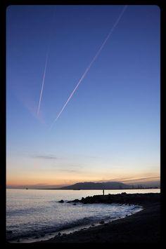 Beautiful sunset at Pedregalejo, Malaga (Spain)