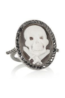 Just another ring to love. Oxidized-silver, sardonyx shell and diamond skull cameo ring by Amedeo.