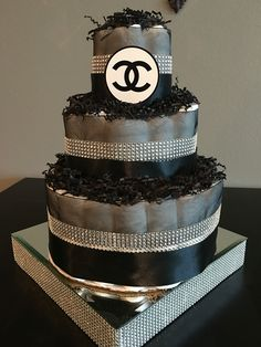 Black and Bling Chanel Diaper Cake by The Bling Factor !