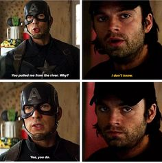 "Bucky's face: ""i DoNT kNoW StEVE."""