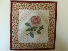 EMBROIDERED SINGLE ROSE QUILTED MINI WALL HANGING