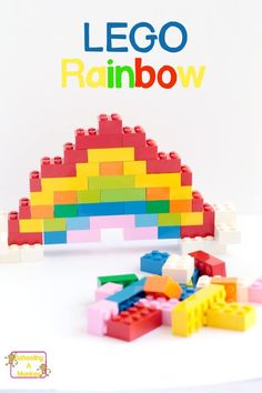Inspired by LEGO Creations by Sara Dees, this LEGO rainbow can be made using bricks you already own! It's harder than you think! Stem Projects, Lego Projects, Projects For Kids, Crafts For Kids, Art Projects, Lego Activities, Educational Activities, Toddler Activities, Rainbow Activities