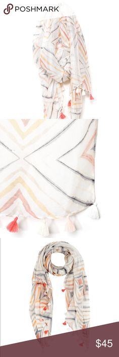 🎉HOST PICK🎉 💥NWT💥Shiraleah Camden Scarf 💥NWT💥 Shiraleah Camden Aztec Tassle Trim scarf. White base with pastel geometric shapes drawn throughout. 100% acrylic. Hand wash only. Shiraleah Accessories Scarves & Wraps