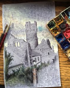 #drawanyway- ballpoint pen #watercolor and gouache on toned paper drawing of a castle from a cycling trip through Germany a few years back by dinabrodsky