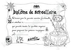 diplome de sorciere A4fili Theme Halloween, Halloween News, Halloween Desserts, Halloween Birthday, Halloween 2018, Halloween Crafts, Birthday Parties, School Organisation, Bricolage Halloween