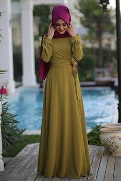 Minel Aşk Asit Yeşil Anvelop Tesettür Elbise modameyra da