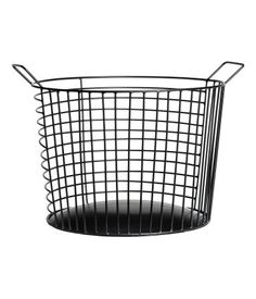 Black. Large, round metal wire basket with two handles at top. Height 8 in., diameter 11 in.