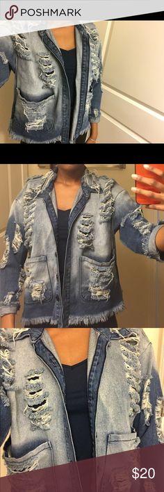 Distressed Jean Jacket Great condition Fashion Nova Jackets & Coats Jean Jackets