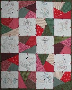 Easy Quilt Patterns: Could cut up string/strip blocks into smaller units. Make the snowman white blocks into picture blocks in white.