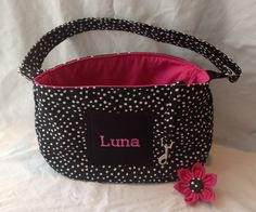 Black And White Polka Dot Pet Carrier W/Embroidered Dogs Name
