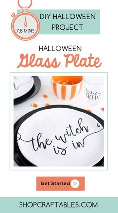 Throw a halloween party for less with these adorable glass plates and plastic tumblers! It took me 30 minutes to create these 4 place settings! That's only mins. for each set! Vinyl Crafts, Vinyl Projects, Diy Craft Projects, Plastic Tumblers, Plastic Plates, Halloween Vinyl, Halloween Party, Vinyl On Glass, How To Use Cricut