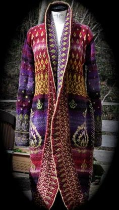 Coat designed and knitted by Stefanie from Germany - front