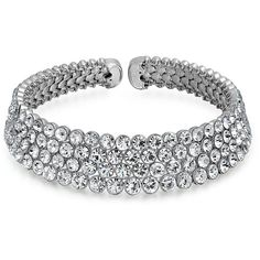 Bling Jewelry Bling Jewelry Four Row Crystal Rhodium Plated Bridal... ($46) ❤ liked on Polyvore featuring jewelry, necklaces, clear, fancy necklace, star necklace, crystal choker, bridal choker necklace and crystal necklace