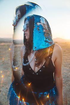Mermaid Hat Bling Rave Party Club Boho Green Blue Sequin Hood Beach Dress Up Cap