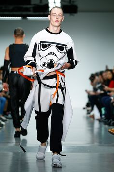 Rising British talent Bobby Abley has incorporated several Stormtrooper-print items into his Spring 2016 menswear show.