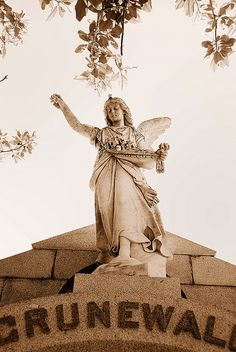 New Orleans cemetery angel ~ ღ Skuwandi Cemetery Monuments, Cemetery Statues, Cemetery Headstones, Cemetery Art, Angel Statues, New Orleans Cemeteries, Cemetery Angels, Heavenly Angels, Angel Images