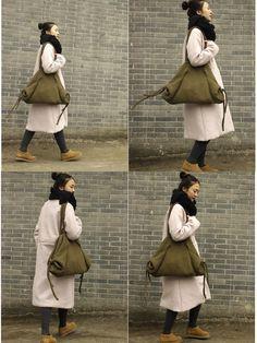 Womens Army Green Wool Knitting Single Shoulder Bags