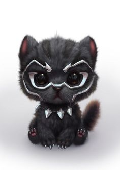 Black Panther as a cute Kitty Cute Little Animals, Cute Funny Animals, Cute Cats, Cute Animal Drawings, Cute Drawings, Kawaii Drawings, Marvel Art, Loki Marvel, Disney Marvel