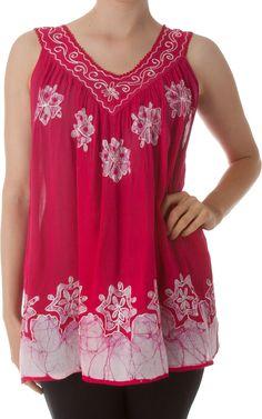 Sakkas Batik Embroidered V-Neck Sleeveless Blouse