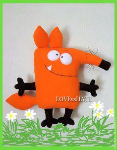 Купить Подушка-игрушка Лис Борис Саблезубович - рыжий, лис, лиса, зубастый, прикольный, игрушка