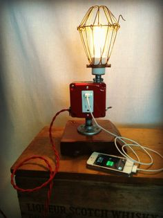 Lamp Industrial USB Port Cell Phone Man by ModernArtifactDecor, $245.00