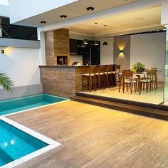 Rustic style Gourmet area with large integrated balcony and pool. Small Backyard Pools, Swimming Pools Backyard, Swimming Pool Designs, Backyard Patio, Kleiner Pool Design, Rustic Houses Exterior, Small Pool Design, Luxury Swimming Pools, Modern Kitchen Interiors