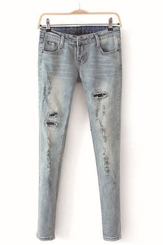 Street Style Bleached Distressed Jeans [DLN0109] - PersunMall.com
