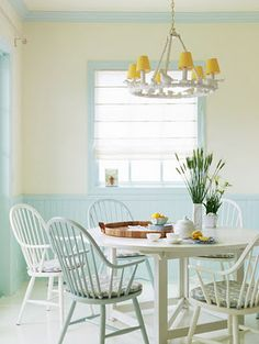 Keltainen talo rannalla: Väriä ja valkoista