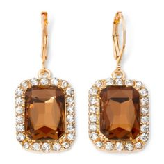 Monet® Gold-Tone Topaz-Colored Drop Earrings  found at @JCPenney - if I go with champagne colored dress, $14