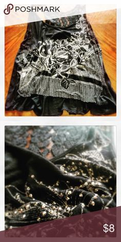 ✳️ Tank Black tank with lace and sparkle! All my items are sold AS IS. Please remember that it is used unless otherwise stated. Vanity Tops Tank Tops
