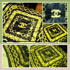 authentic Chanel silk scarf 1970s vintage barely worn. bought in NYC in 1970s . 100% authentic silk black and gold chain scarf. unfortantly the tag was cut off when bought in the days but it is 100% authentic. CHANEL Accessories Scarves & Wraps