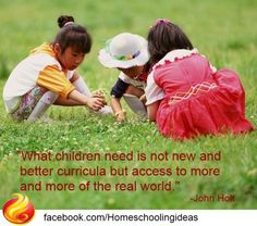 What children need is not new and better curricula, but access to more and more of the real world - John Holt.