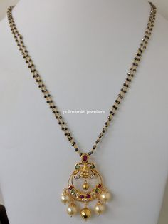 Pearl Necklace Designs, Jewelry Design Earrings, Gold Earrings Designs, Beaded Jewelry, 1 Gram Gold Jewellery, Gold Jewellery Design, Gold Mangalsutra Designs, Gold Jewelry Simple, Gold Bangles