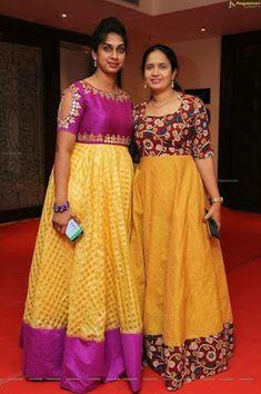 21 Kurti from old saree designs Kurta Designs, Half Saree Designs, Saree Blouse Designs, Kalamkari Dresses, Ikkat Dresses, Frock Design, Designer Anarkali, Frock Models, Saree Models