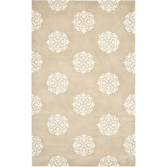 @Overstock.com - Handmade Soho Medallion Beige Wool Rug (7'6 x 9'6) - With a plush 0.5-inch pile height, this soft wool rug is a welcoming touch of cushion to your tired feet. A dense, thick pile of New Zealand wool highlights this handmade rug.  http://www.overstock.com/Home-Garden/Handmade-Soho-Medallion-Beige-Wool-Rug-76-x-96/7280580/product.html?CID=214117 $459.99