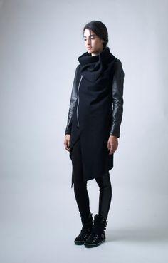 WINTER SALE 15 OFF Black Jacket / High Collar Coat by marcellamoda