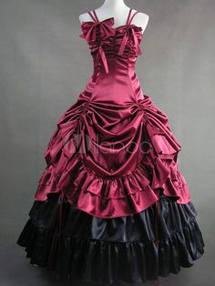 Classic Lolita Aristocrat Rococo Luxury Satin Long Dress Ball Gown $129.99 AT vintagedancer.com