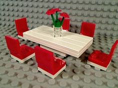 Lego White Six Seat Dining Room Table Flowers Red Chairs Kitchen Food Formal Eat | eBay
