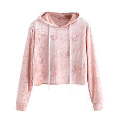 c32fd14e9a Autumn Velvet Sweatshirt Womens Long Sleeve Hoodie Sweatshirst Jumper  Hooded Pullover Pink Crop Tops Blouse Hooded