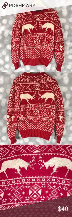 Vintage Eddie Bauer 100% Wool Christmas Sweater Vintage Eddie Bauer 100% Wool Christmas Sweater, Red/Cream, Size M Eddie Bauer Sweaters
