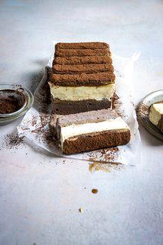 Triple Chocolate Tiramisu Ice Cream Cake | Donal Skehan | EAT LIVE GO Frozen Desserts, Frozen Treats, No Bake Desserts, Delicious Desserts, Chocolate Tiramisu, Chocolate Ice Cream, Summer Ice Cream, Cream Cake, Baking Ingredients