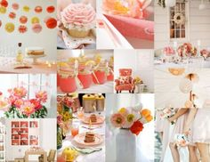 Peach, blush, coral and yellow.