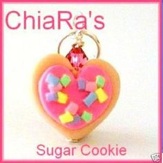 Pink Heart Sugar Cookie Polymer Clay Charm by CharmthisClayCharms, $3.00