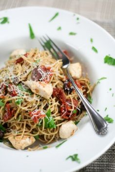 chicken and sundried tomato pasta. I have everything in my cupboards to make this one...  yums.