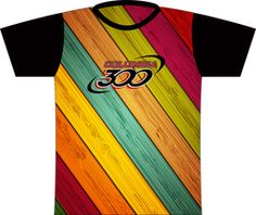Columbia 300 Wood Colorful Dye Sublimated Jersey. A design using colorful wood boards!  Columbia 300 logo full front and full back.