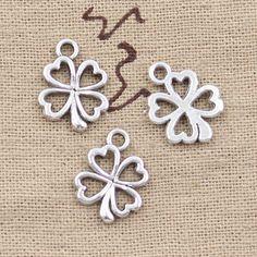 99Cents 15pcs Charms luck irish four leaf clover 17*14mm Antique Making pendant fit,Vintage Tibetan Silver,DIY bracelet necklace