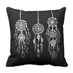 Decors Square Decorative Throw Pillow Case Cushion Cover Black and White Bohemian Dreamcatchers Throw Pillow 16 X 16 Two Sides Printed